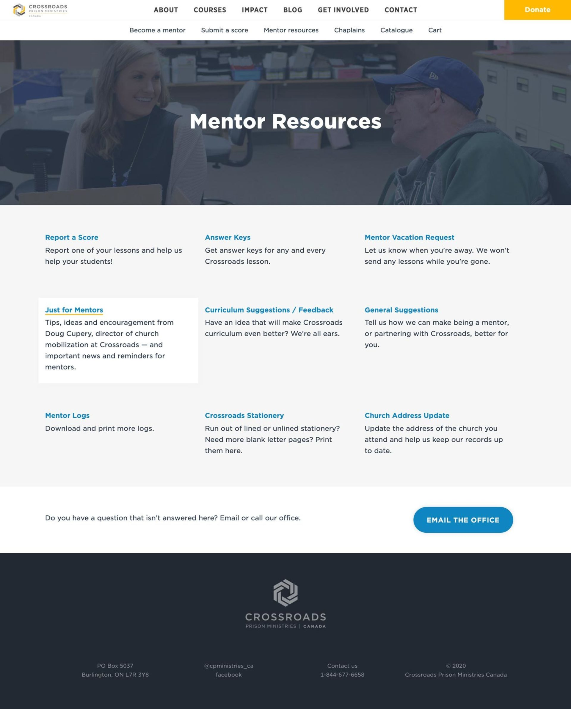 Full size screenshot of the Mentor Resources page on the Crossroads website