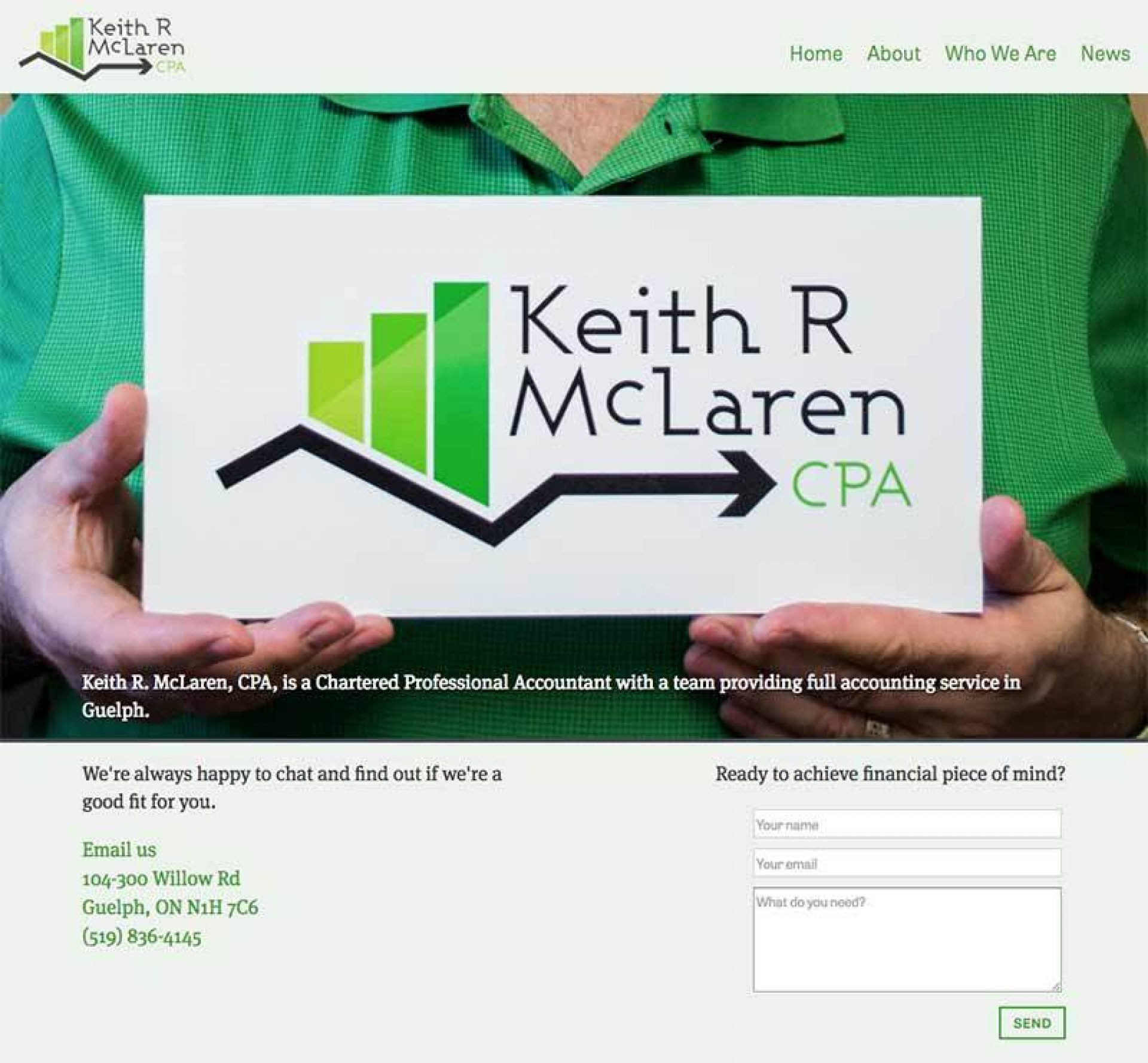 The new home page on Keith's website