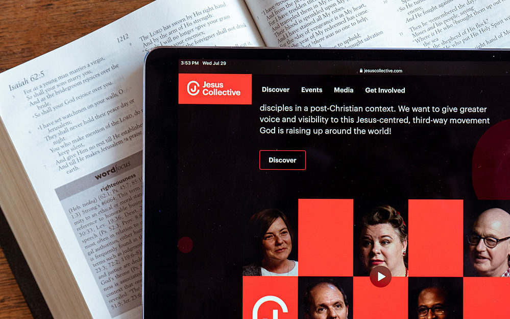 Jesus Collective website on a Bible