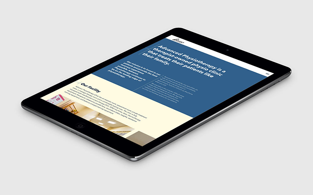 The About page of the Advance Physio website on a tablet