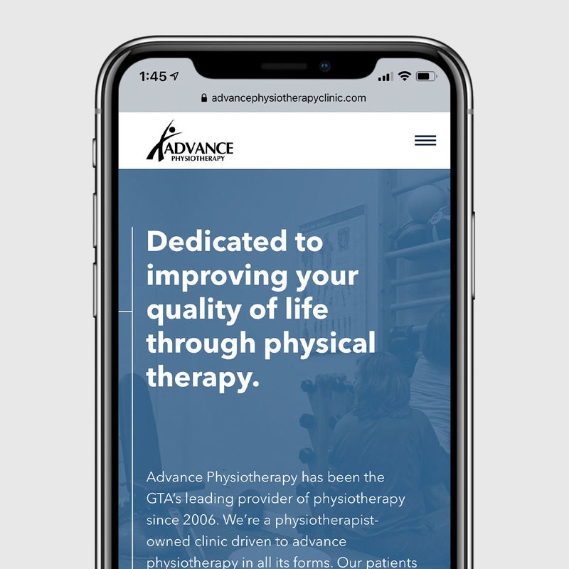 The home page of Advance Physio on a phone