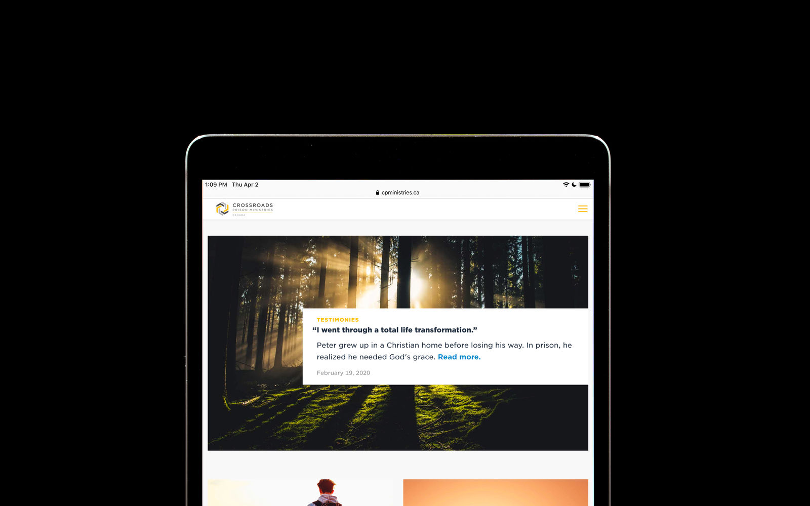 Crossroads Prison Ministries' blog on an iPad