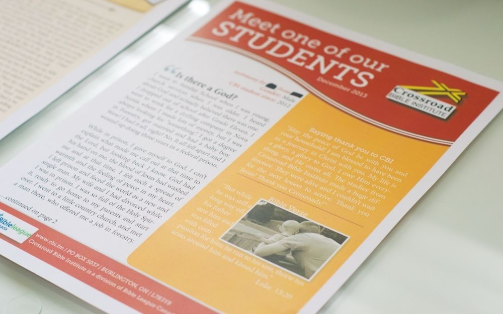 A picture of a Crossroads newsletter