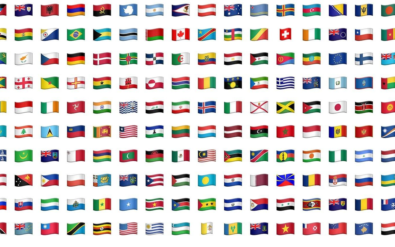 Different emoji flags for many countries and languages